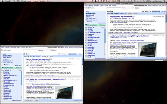 Fluid VS Prism Google Reader