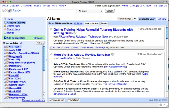 Google Reader in Prism