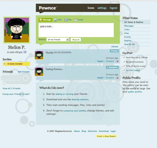Pownce Screenshot